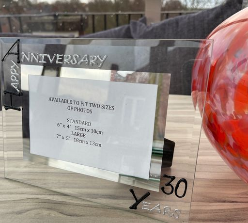 30th Wedding Anniversary Gift Photo Frame Landscape (Blk/Sil)