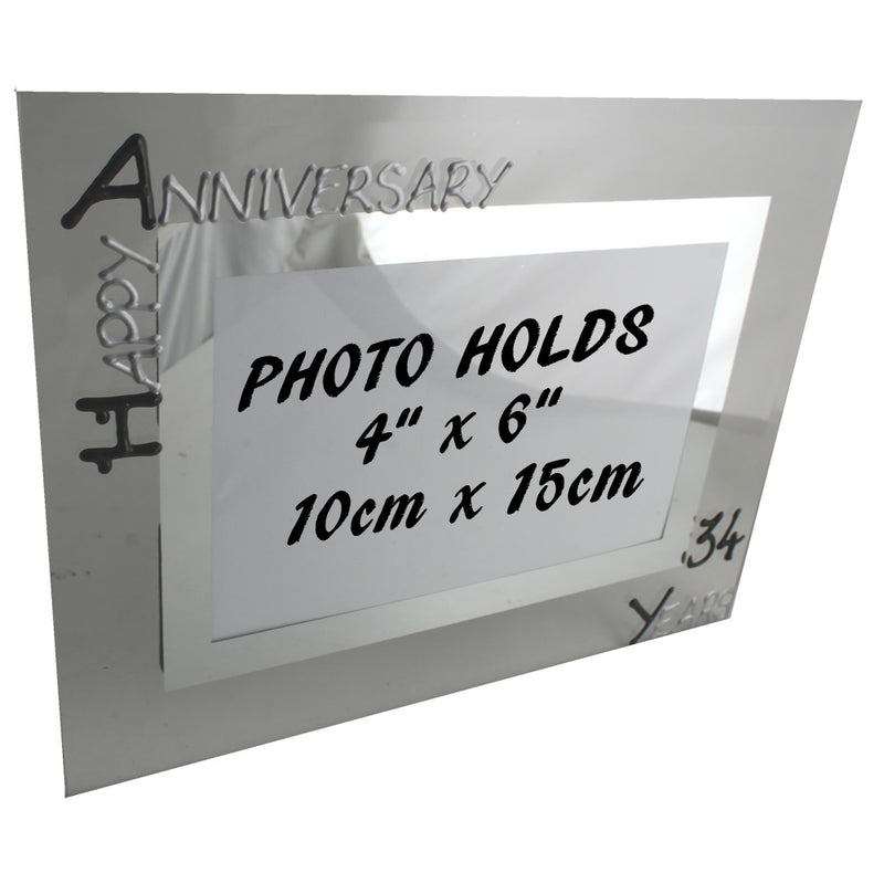 34th Wedding Anniversary Gift Photo Frame Landscape (Blk/Sil)