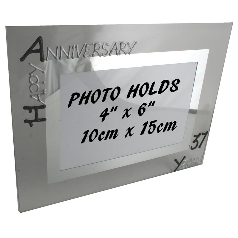 37th Wedding Anniversary Photo Frame Land Blk/Sil