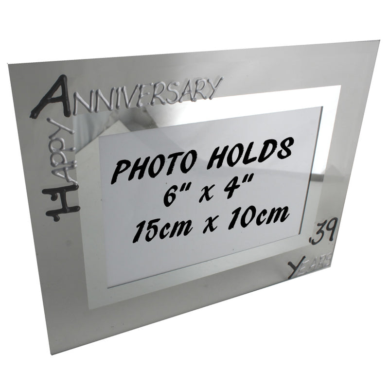 39th Wedding Anniversary Photo Frame Land Blk/Sil