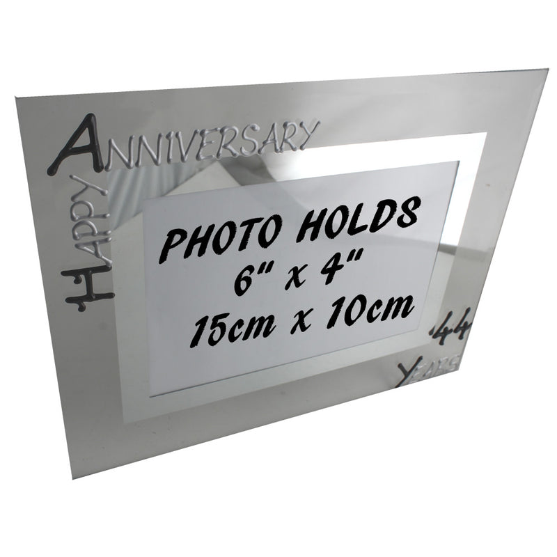 44th Wedding Anniversary Photo Frame Land Blk/Sil
