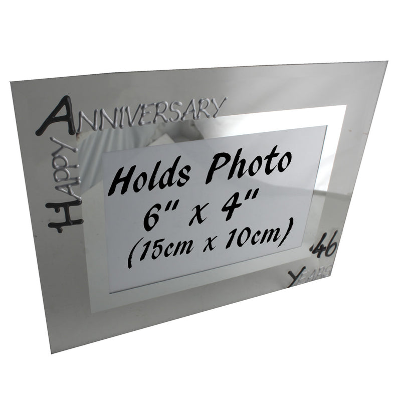 46th Wedding Anniversary Photo Frame Land Blk/Sil