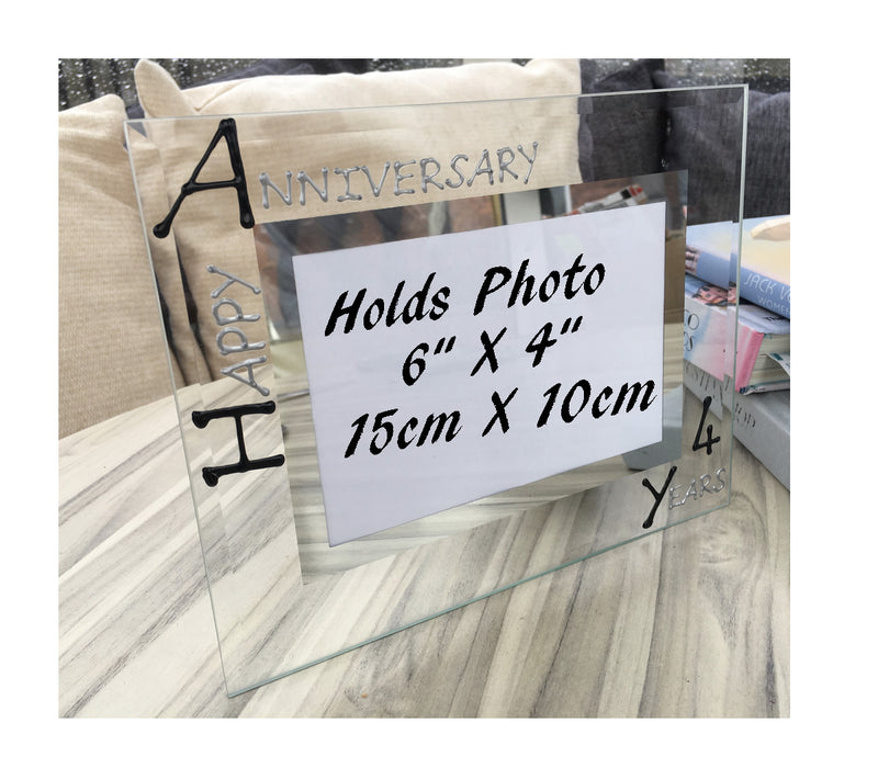 4th Wedding Anniversary Gift Photo Frame Landscape (Blk/Sil)