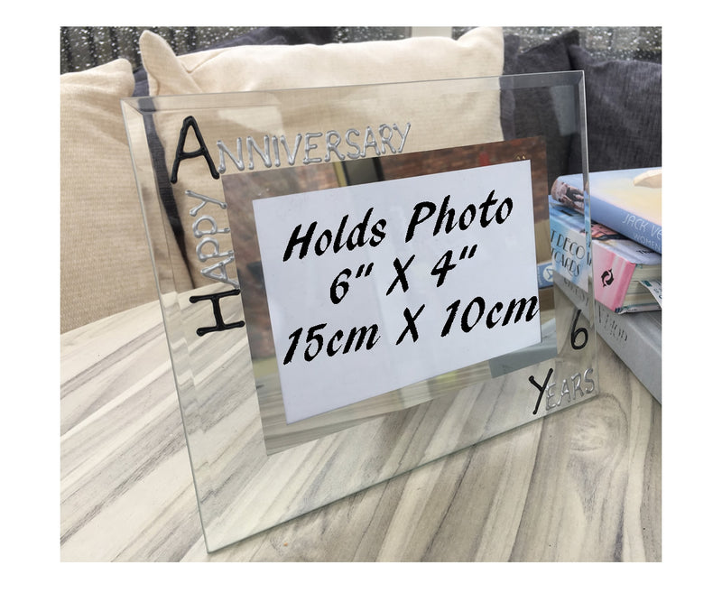 6th Wedding Anniversary Photo Frame Land Blk/Sil