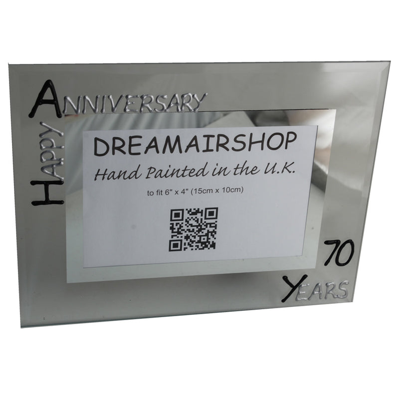 70th Wedding Anniversary Gift Photo Frame Landscape (Blk/Sil)