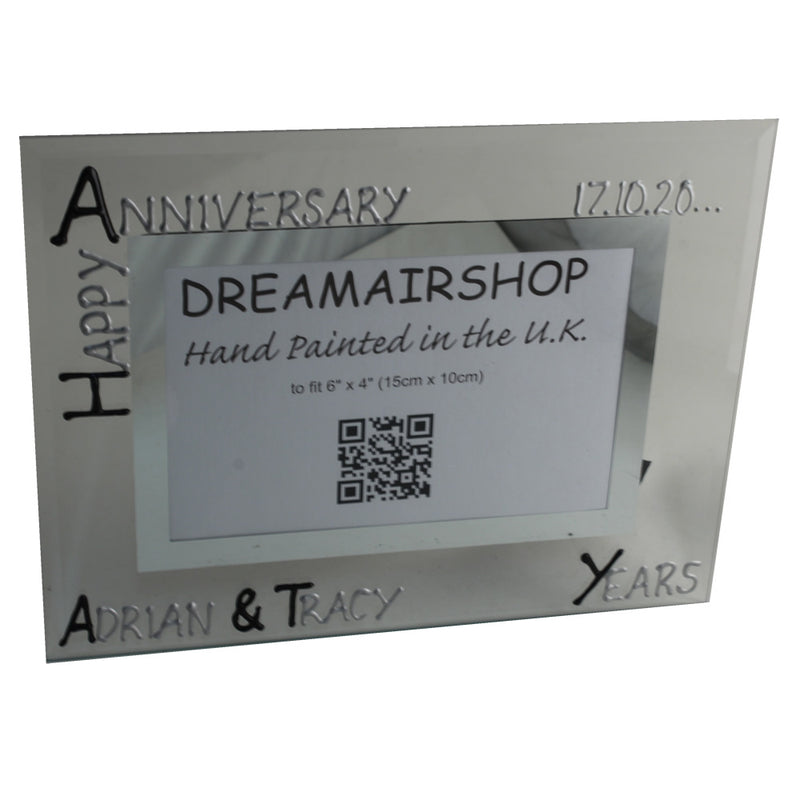 Personalised Landscape Photo Frame Black/Silver