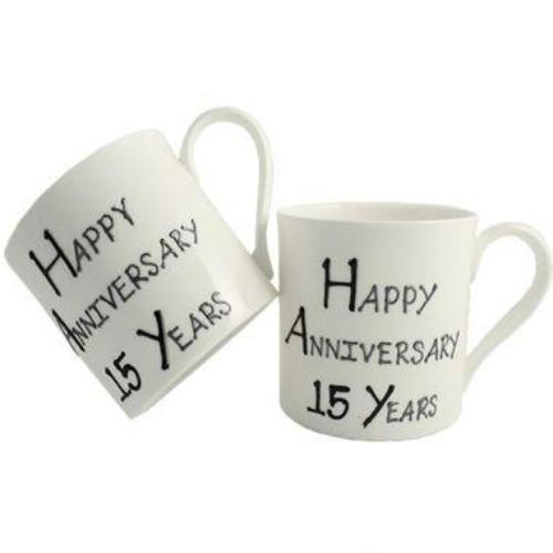 15th Wedding Anniversary Mugs Blk/Sil