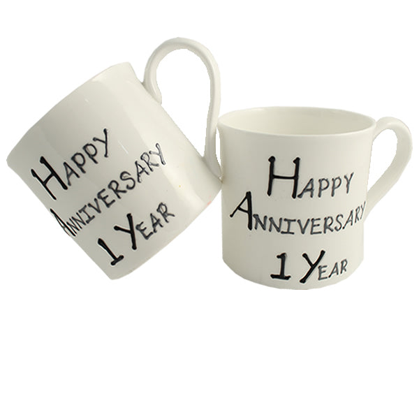 1st Wedding Anniversary Fine Bone China Mugs (Blk/Sil)