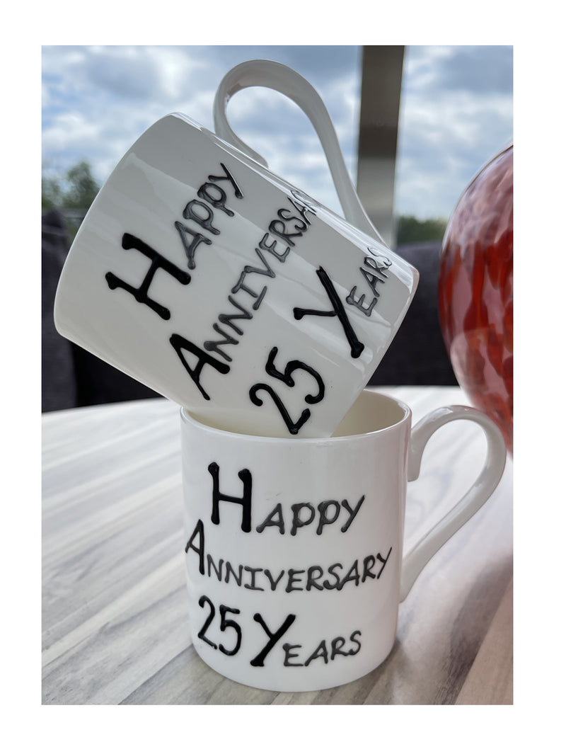25th Wedding Anniversary Mugs Blk/Sil