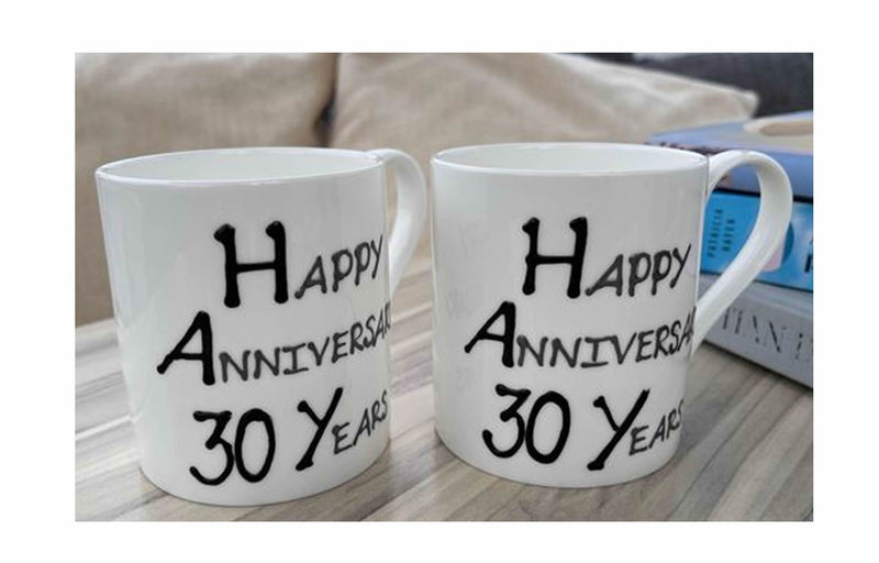 30th Wedding Anniversary Mugs Blk/Sil