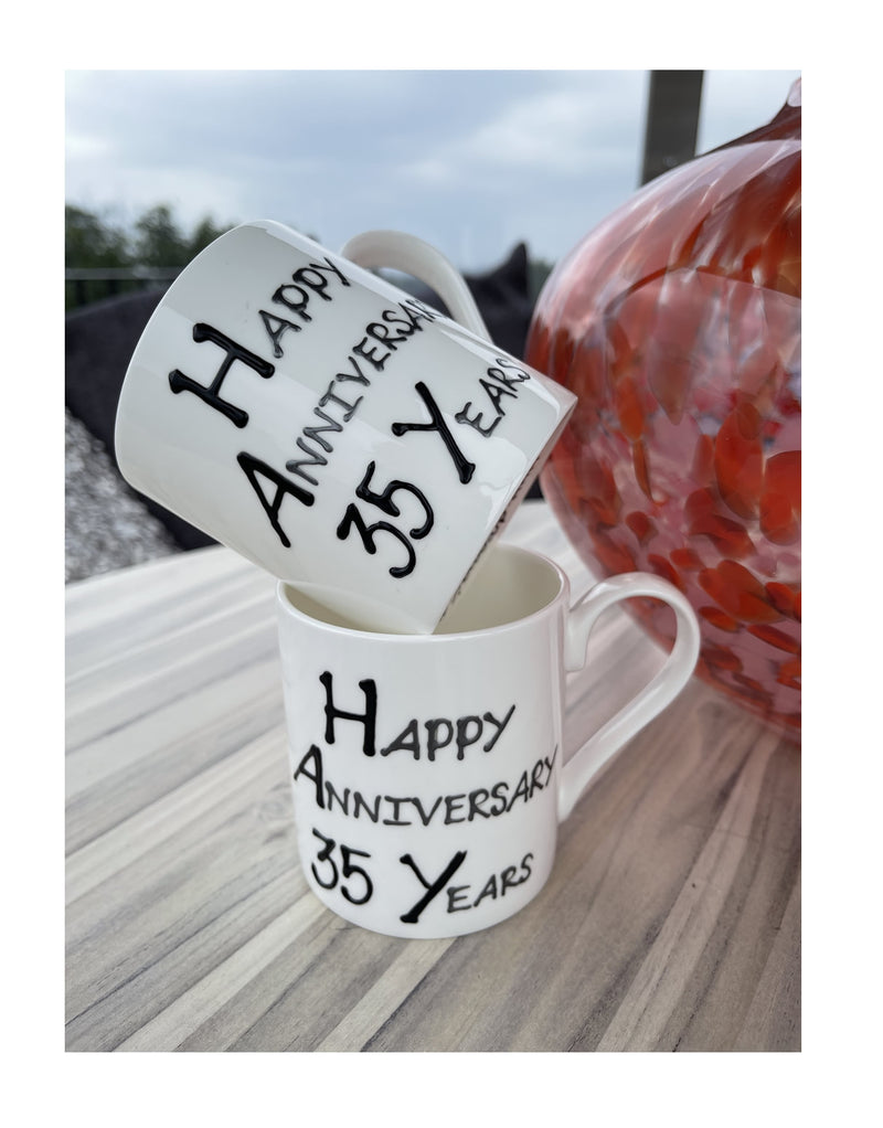 35th Wedding Anniversary Mugs Blk/Sil