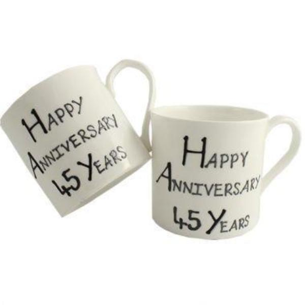 45th Wedding Anniversary Mugs Blk/Sil