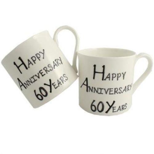 60th Wedding Anniversary Mugs Blk/Sil