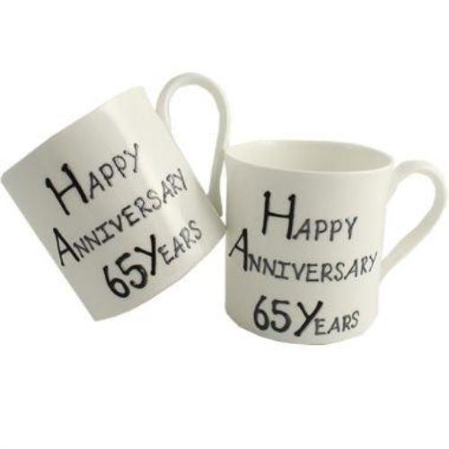 65th Wedding Anniversary Mugs Blk/Sil