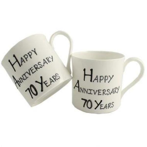 70th Wedding Anniversary Mugs Blk/Sil