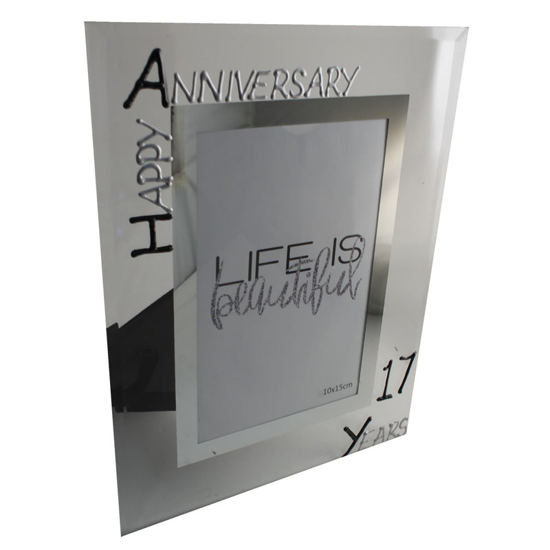 17th Wedding Anniversary Photo Frame Portrait Blk/Sil