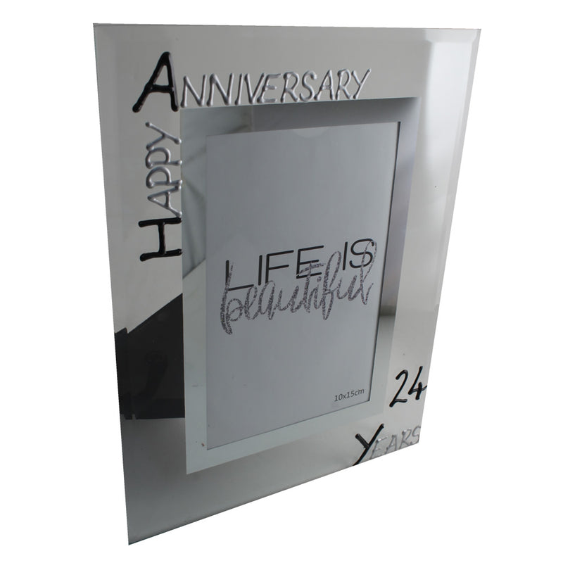 24th Wedding Anniversary Photo Frame Port Blk/Sil