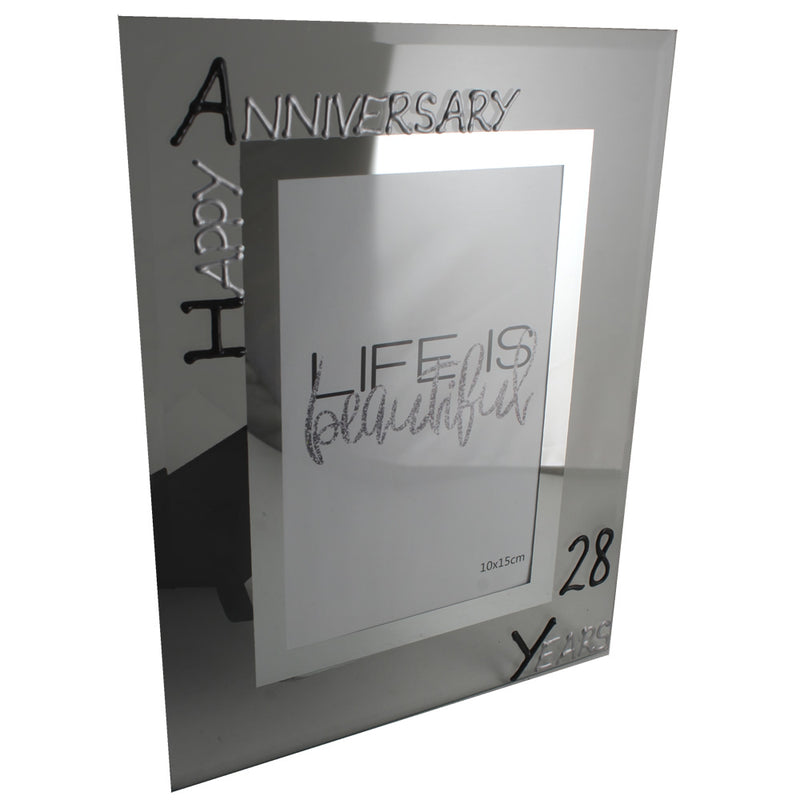 28th Wedding Anniversary Photo Frame Port Blk/Sil