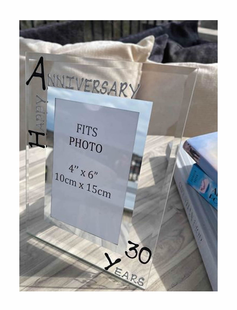 30th Wedding Anniversary Gift Photo Frame Portrait (Blk/Sil)