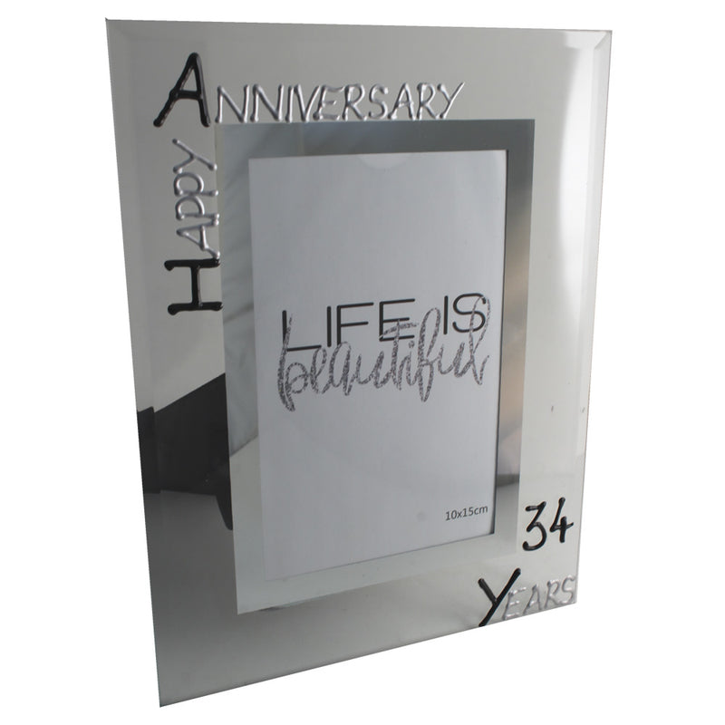 34th Wedding Anniversary Photo Frame Port Blk/Sil