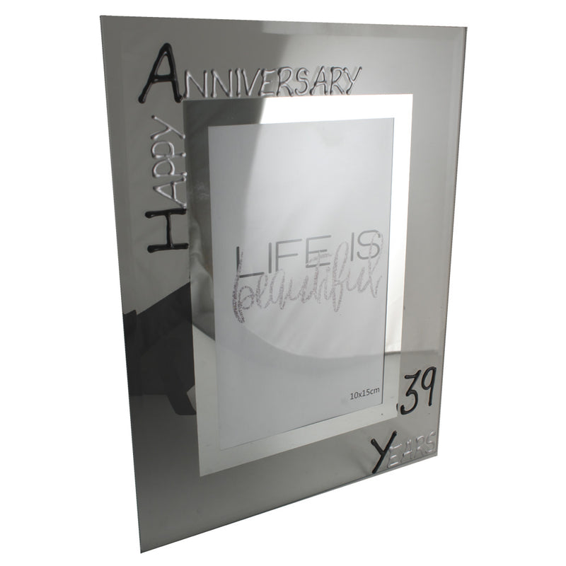 39th Wedding Anniversary Gift Photo Frame Portrait (Blk/Sil)