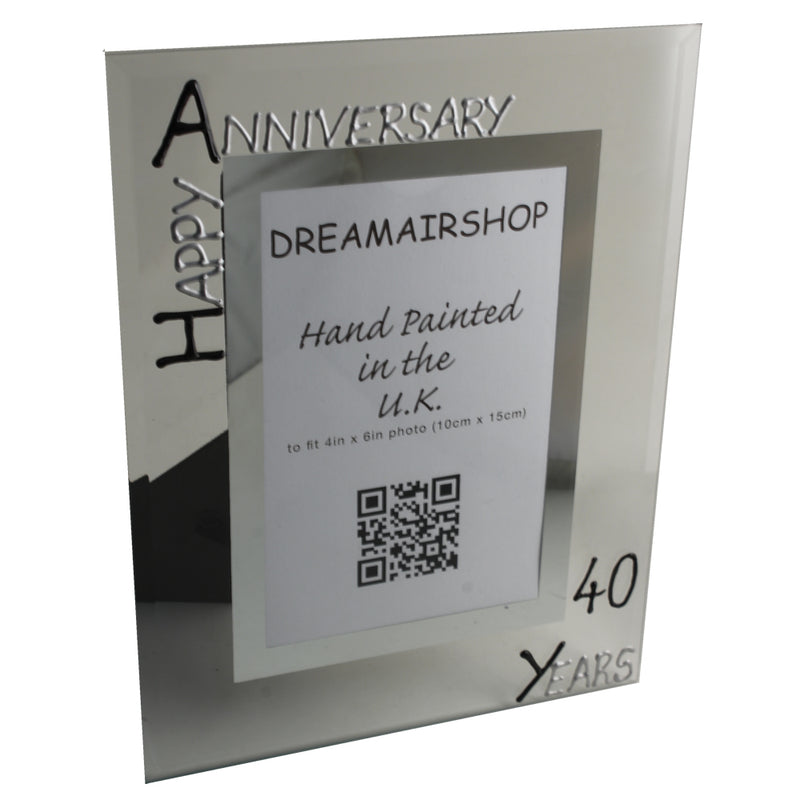 40th Wedding Anniversary Photo Frame Portrait Blk/Sil