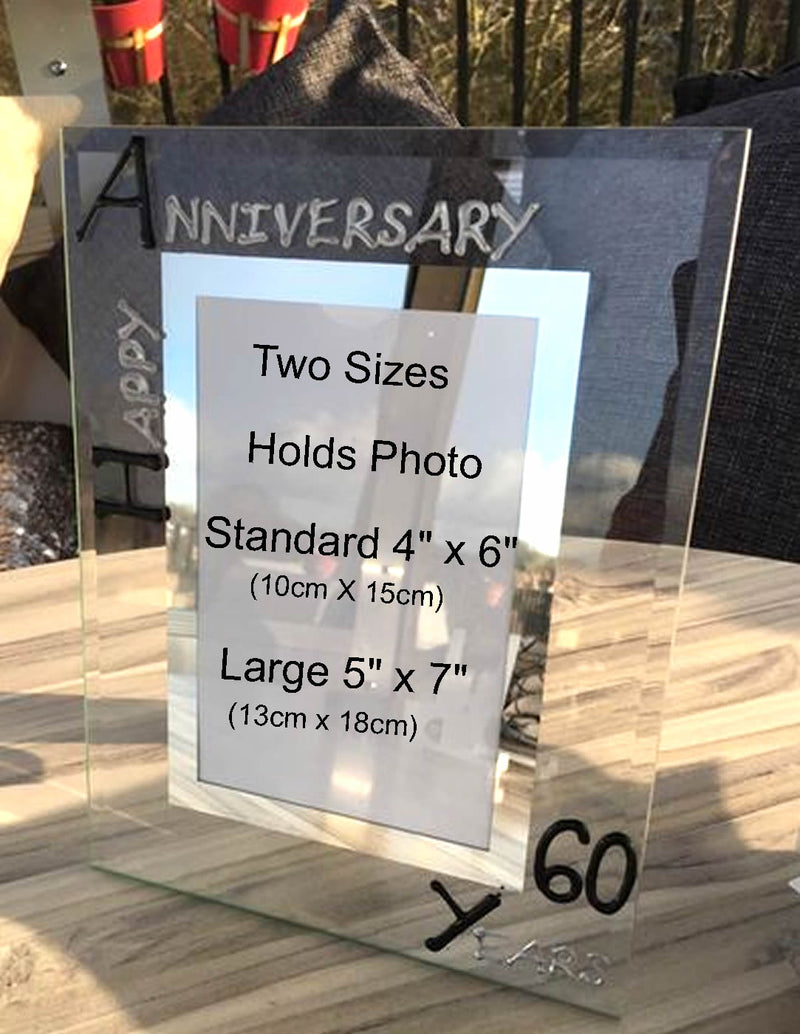 60th Wedding Anniversary Gift Photo Frame Portrait (Blk/Sil)