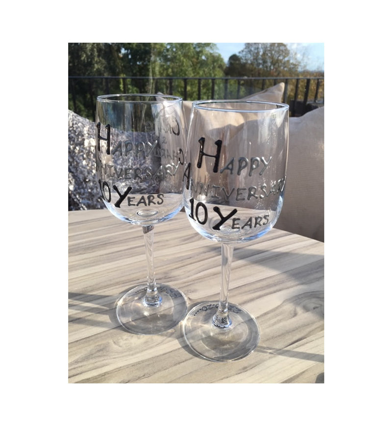 10th Wedding Anniversary Wine Glasses Blk/Sil