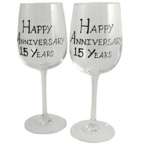 15th Wedding Anniversary Wine Glasses Blk/Sil