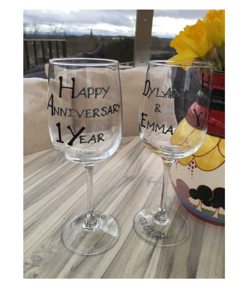 Personalised 1st Anniversary Wine Glasses B/S