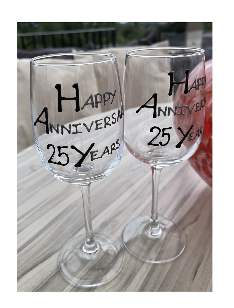 25th Wedding Anniversary Wine Glasses Blk/Sil