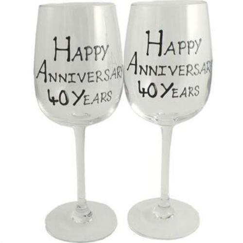 40th Wedding Anniversary Wine Glasses Blk/Sil