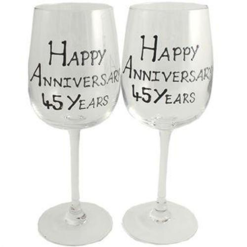 45th Wedding Anniversary Wine Glasses Blk/Sil