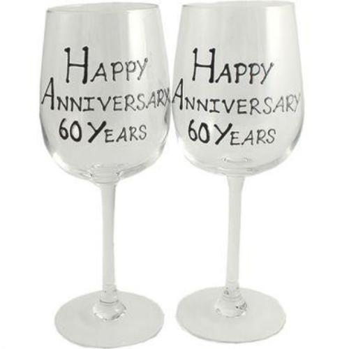 60th Wedding Anniversary Wine Glasses Blk/Sil