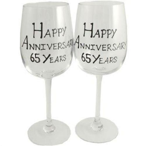 65th Wedding Anniversary Wine Glasses Blk/Sil