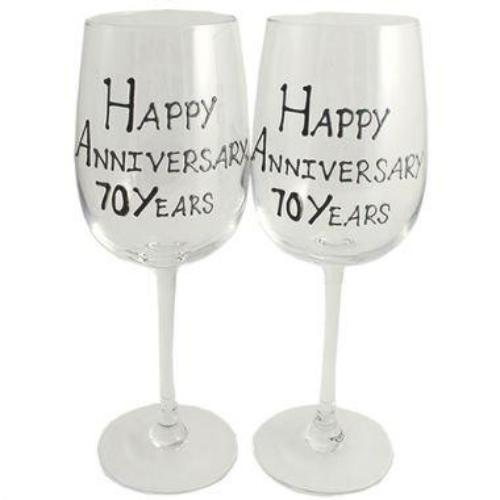 70th Wedding Anniversary Wine Glasses Blk/Sil