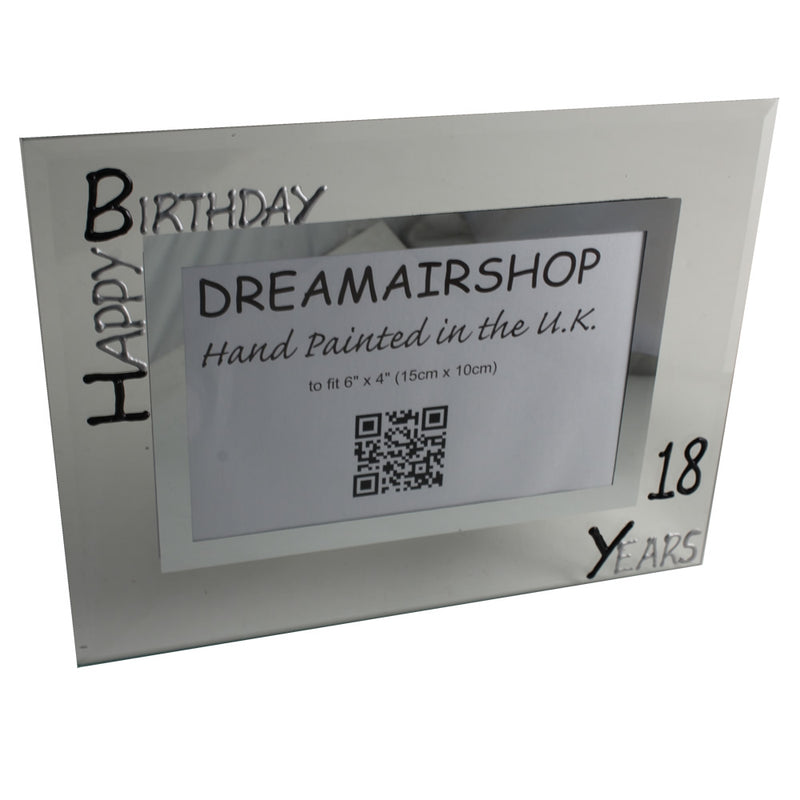 Personalised 18th Birthday Photo Frame: Landscape (Blk/Sil)