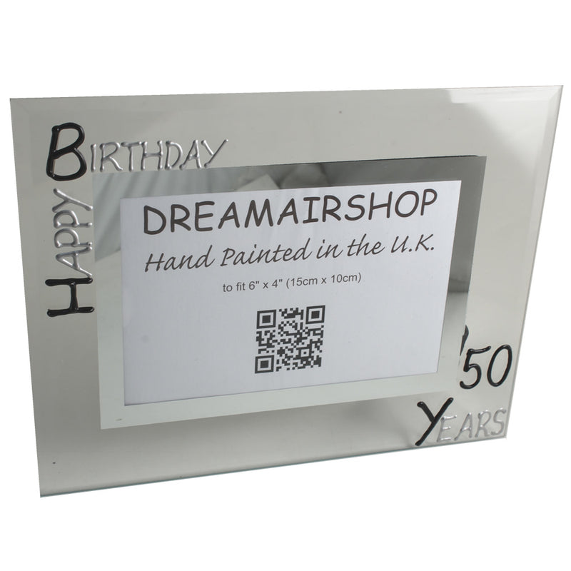 50th Birthday Photo Frame Land Blk/Sil