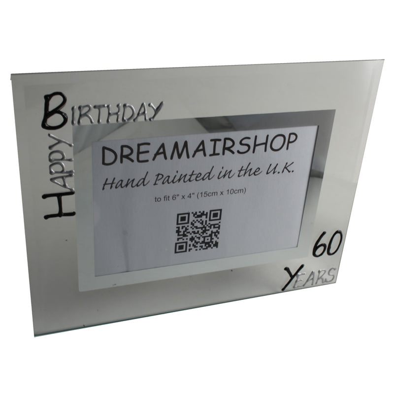 60th Birthday Gift Photo Frame Landscape (Blk/Sil)