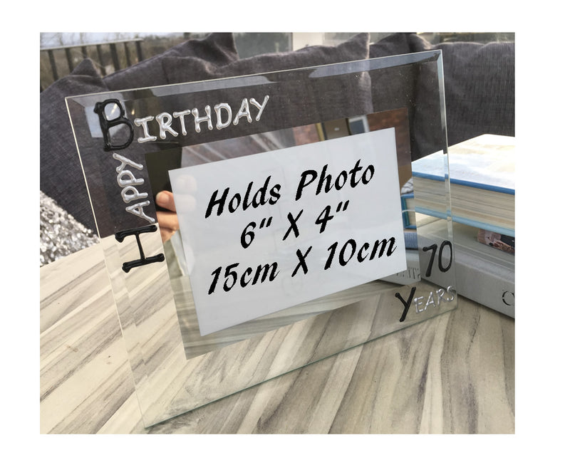 70th Birthday Gift Photo Frame Landscape (Blk/Sil)