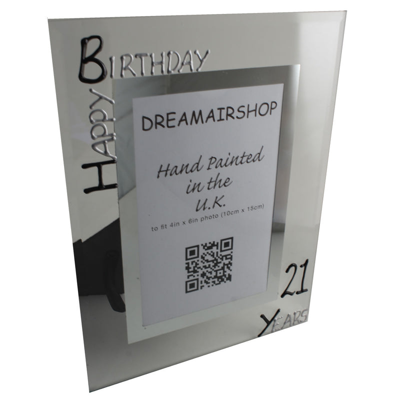 21st Birthday Gift Photo Frame Portrait (Blk/Sil)