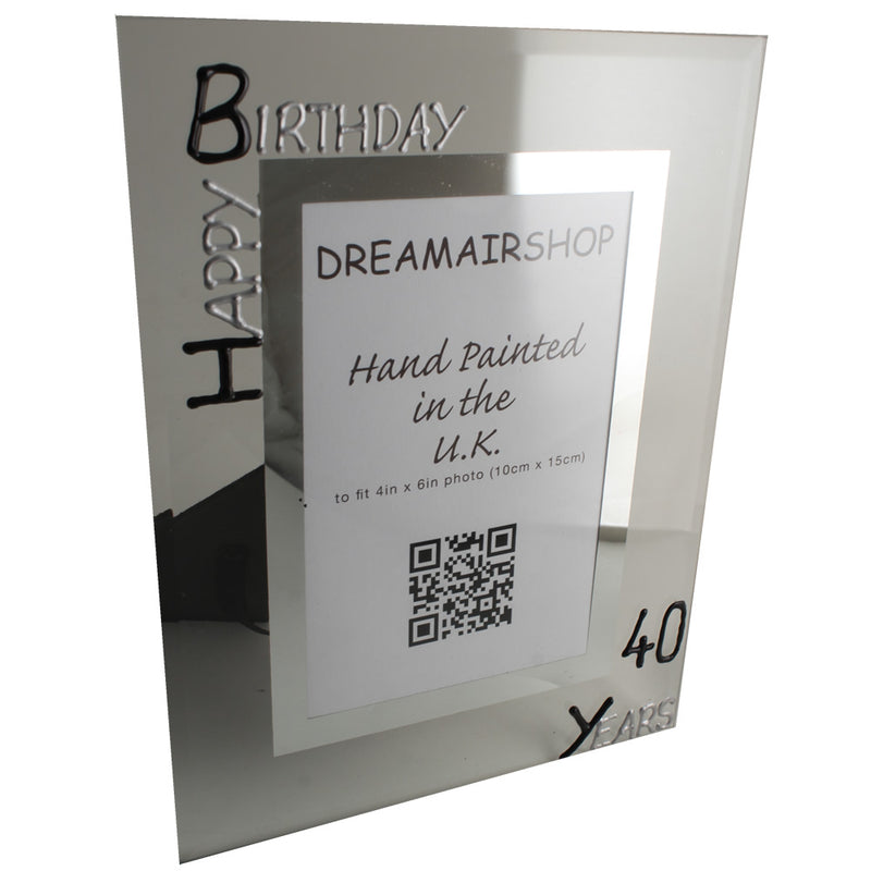 40th Birthday Photo Frame Port Blk/Sil