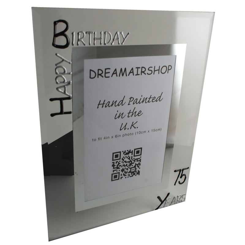 75th Birthday Photo Frame Port Blk/Sil