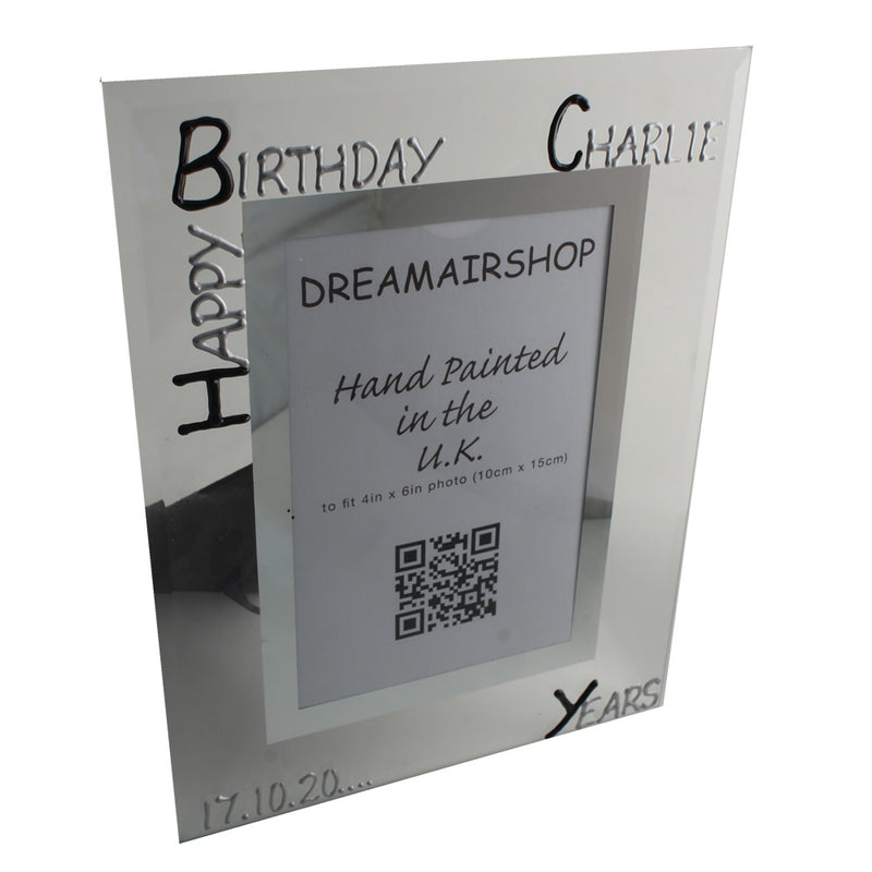 Personalised 18th Birthday Gift Photo Frame Portrait (Blk/Sil)