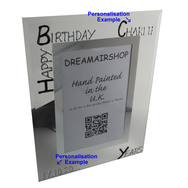 Personalised Birthday Photo Frame Port Blk/Sil