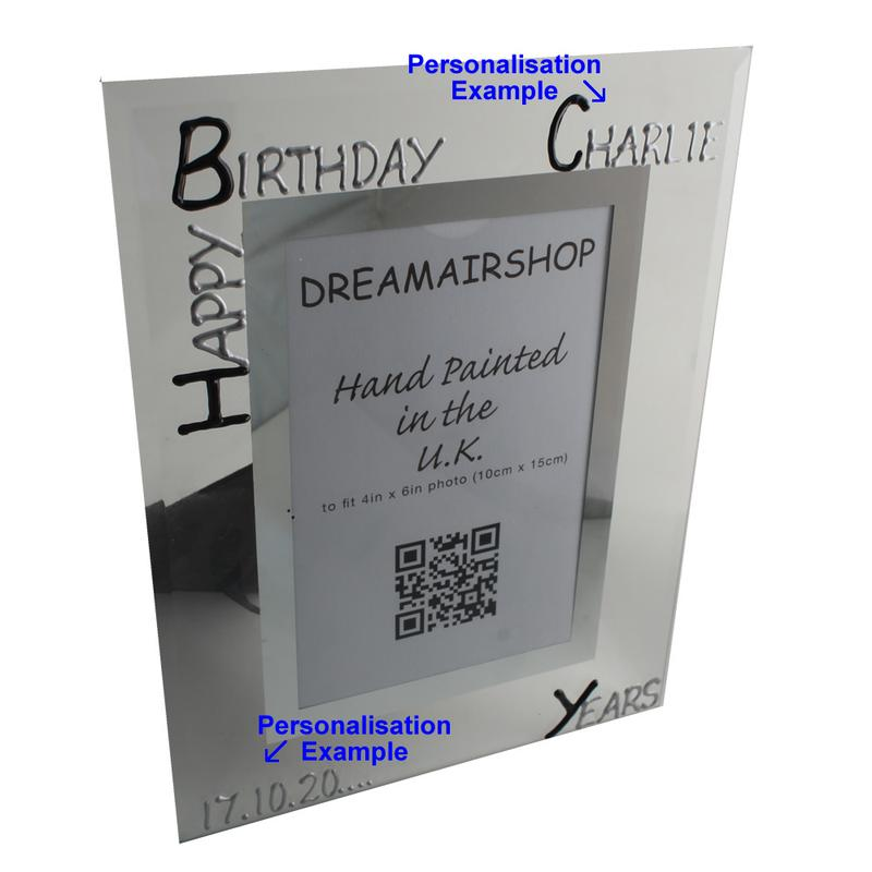 Personalised Birthday Photo Frame Portrait (Blk/Sil)