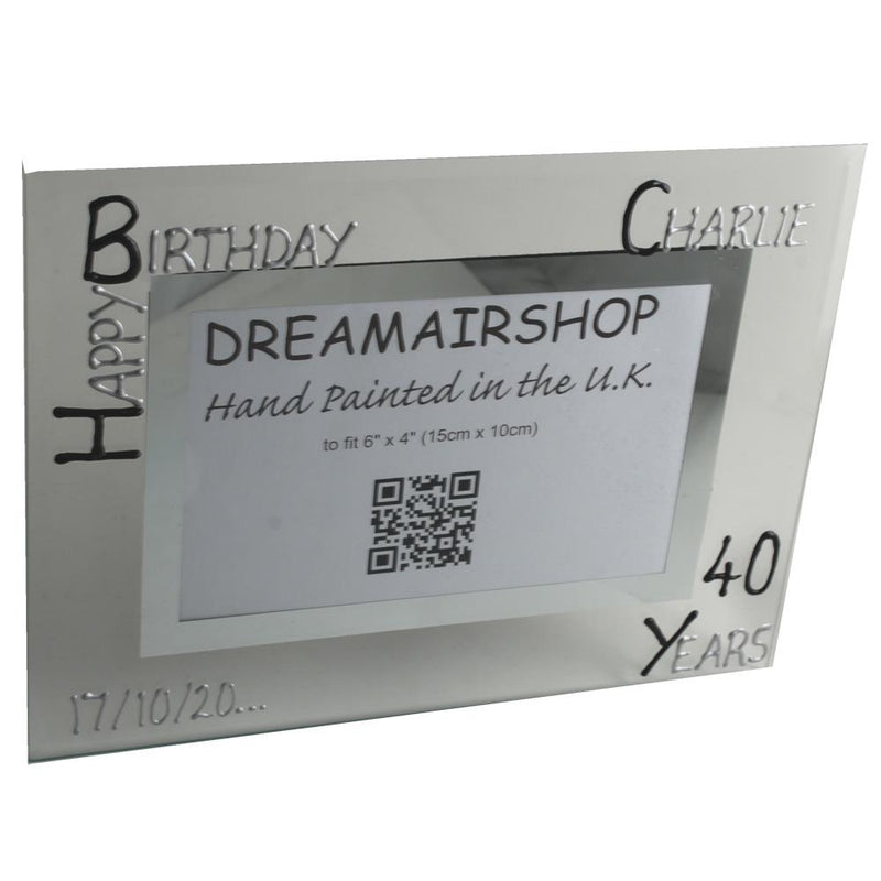Personalised Birthday Photo Frame Land Blk/Sil