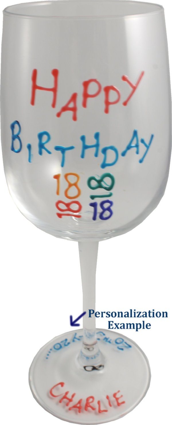 Personalised Birthday Wine Glass Brights