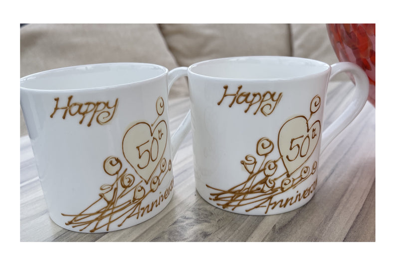 50th Wedding Anniversary Mugs Flower