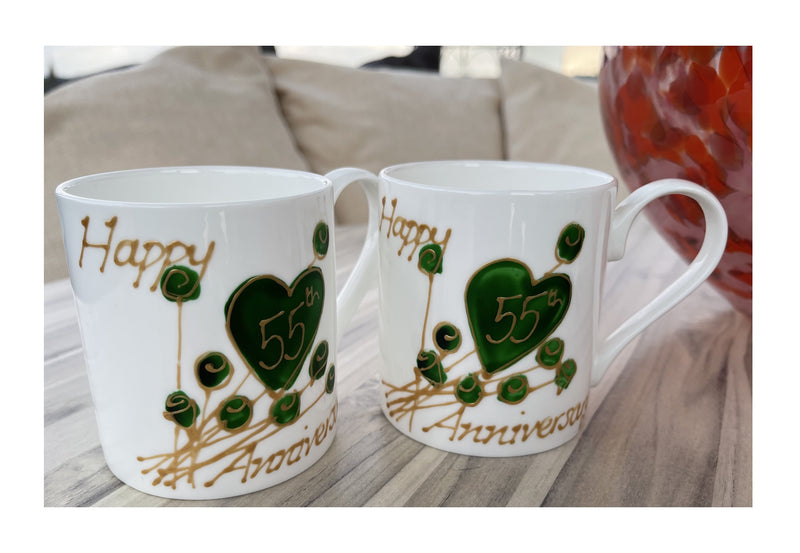 55th Wedding Anniversary Mugs Flower